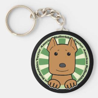 Staffordshire Terrier americano Llavero Redondo Tipo Pin