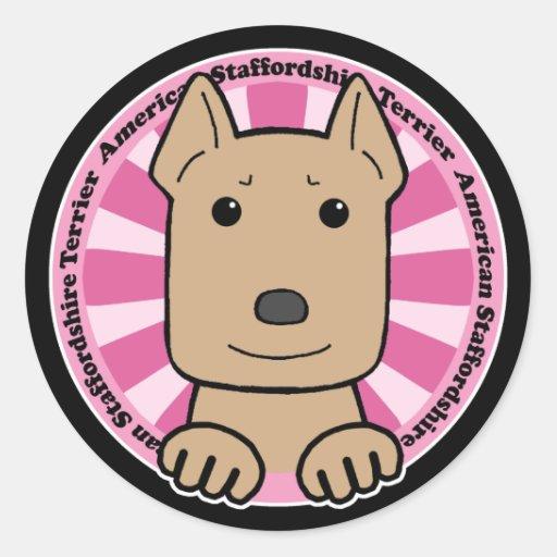 Staffordshire Terrier americano Pegatina Redonda
