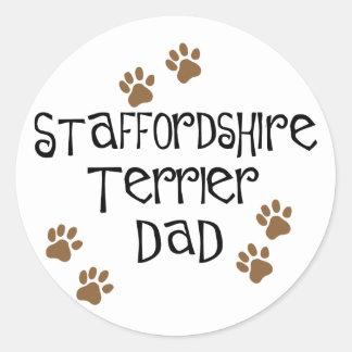Staffordshire Terrier Dad Round Stickers