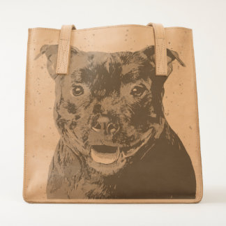 Staffordshire Terrier Etched Portrait Leather Tote