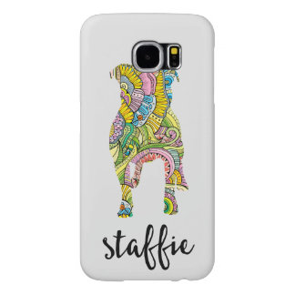 Staffordshire Terrier Floral Pattern Silhouette Samsung Galaxy S6 Case
