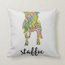 Staffordshire Terrier Floral Pattern Silhouette Throw Pillow