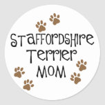 Staffordshire Terrier Mom Classic Round Sticker