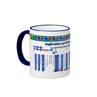 Staffordshire & Worcester Canal Map Blue 2of2 Ringer Mug
