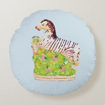 Beach Themed Staffordshire Zebra Pillow Chinoiserie Palm Beach