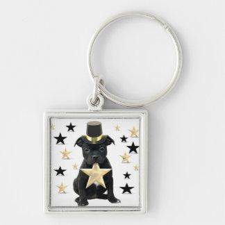 Stafforfshire bull terrier puppy keychain