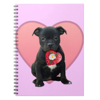 Stafforshire bull terrier puppy notebook