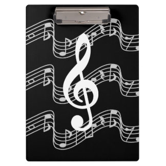 Staffs and Treble Clef on Black Clipboard