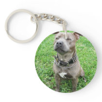 Staffy At Attention, Keychain