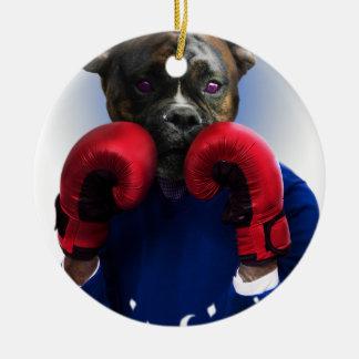 Staffy Dog Boxer Fun Animal Ceramic Ornament
