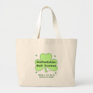 Staffy  Heaven on Earth Large Tote Bag