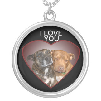 Staffy I Love You Silver Plated Necklace