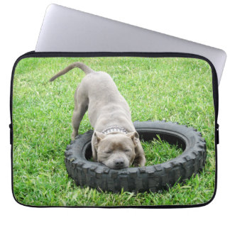 Staffy_Playing_With_Tyre,_13_Inch_Laptop_Sleeve. Laptop Sleeves