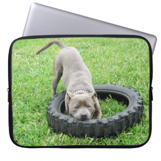 Staffy_Playing_With_Tyre,_15_Inch_Laptop_Sleeve. Computer Sleeve