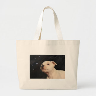 Staffy puppy large tote bag
