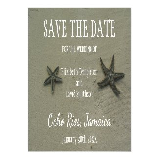 Stafish Destination Wedding Beach Save the Date Magnetic Card