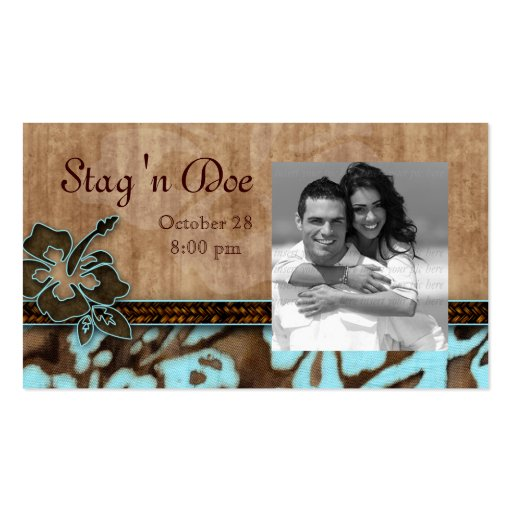 Stag and Doe Tickets Hibiscus Flower Blue Business Card Templates