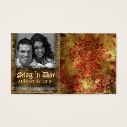 Stag and Doe Tickets Vintage Floral Red Gold