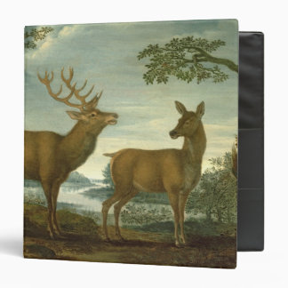 Stag and hind in a wooded landscape vinyl binder