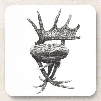 Stag antlers chair beverage coaster