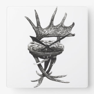 Stag antlers chair square wallclocks