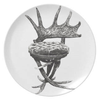 Stag antlers chair dinner plate