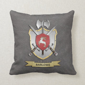Stag Battle Crest Grey Throw Pillow