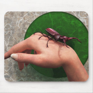 Stag Beetle On Hand Mouse Pad