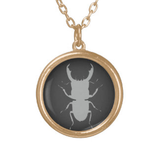 Stag Beetle Specimen Gold Plated Necklace