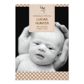 Stag Birth Announcement 9 Cm X 13 Cm Invitation Card