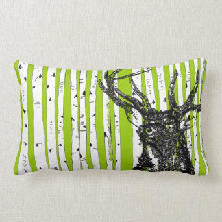 Stag Deer and Birch Tree Pillow