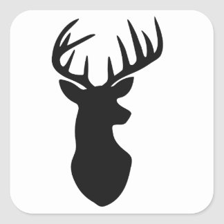 Stag Deer Head Silhouette Square Sticker