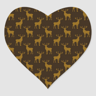 Stag Deer in Brown over Brown Heart Sticker