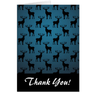 Stag Deer Silhouette on Blue Card