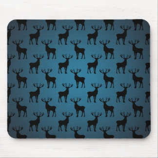 Stag Deer Silhouette on Blue Mouse Pad