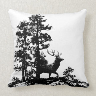 Stag Deer Tree Forest Animal Silhouette Nature Art Pillow