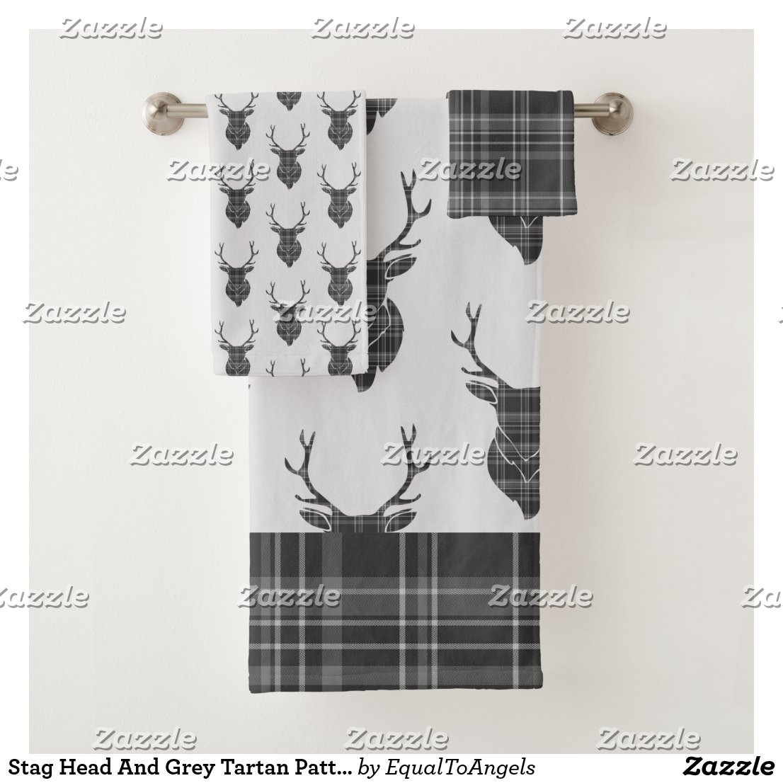 Stag Head And Grey Tartan Pattern Rustic Bath Towel Set