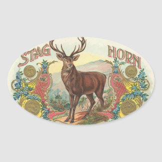 Stag Horn Oval Sticker
