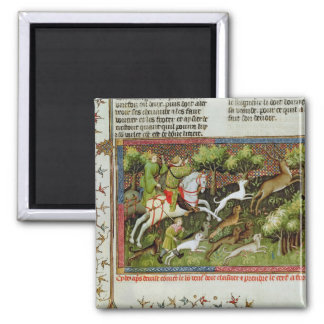 Stag Hunting, from the Livre de la Chasse 2 Inch Square Magnet