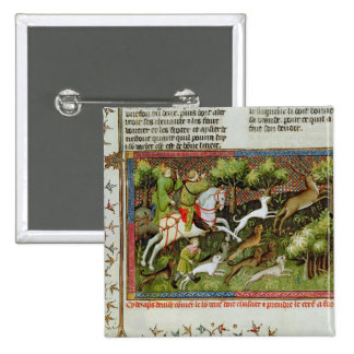 Stag Hunting, from the Livre de la Chasse Button