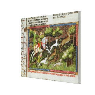 Stag Hunting, from the Livre de la Chasse Canvas Print