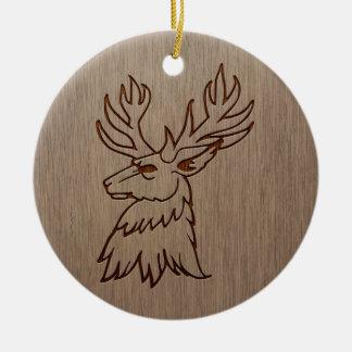 Stag illustration engraved on wood design ceramic ornament