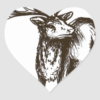 Stag illustration heart sticker