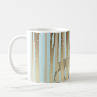 Stag In Birch Trees Classic White Coffee Mug