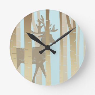 Stag In Birch Trees Round Clock