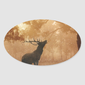 Stag in Mystical Forest Oval Sticker
