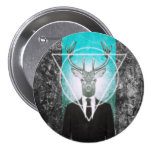 Stag in suit 3 inch round button