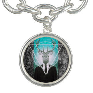 Stag in suit charm bracelets