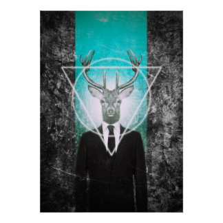 Stag in suit poster