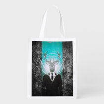 stag, hipster, triangle, cool, stag in suit, vintage, original, deer, funny, reusable bag, classy, buck, animal, moose, graphic, design, creative art, photography, wild, animals, reusable, grocery, bag, [[missing key: type_reusableba]] with custom graphic design